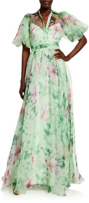 Badgley Mischka Hibiscus Printed Organza Puff-Sleeve Gown