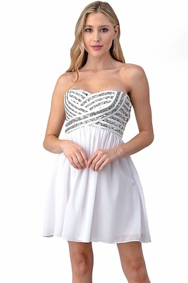 Minuet Womens Short Chiffon Dress with Sequin Bodice
