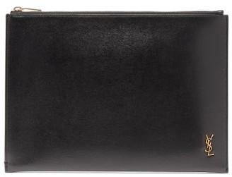 Saint Laurent monogram Leather Ipad Pouch - Mens - Black