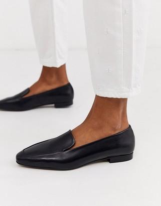 Depp black soft leather flat shoes