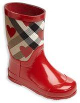 Burberry Toddler's Rubber & Canvas Heart-Print Rain Boots