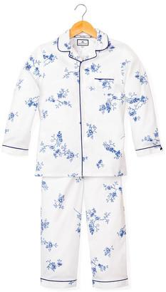 Petite Plume Girl's Indigo Floral Print Two-Piece Pajama Set, Size 6M-14
