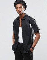 Asos Short Sleeved Shirt In Black With Cut And Sew In Regular Fit
