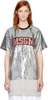 MSGM Silver Sequinned Logo T-Shirt