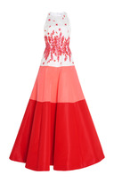 Andrew Gn Color Block Floral Embroidered Gown