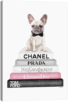 iCanvas Grey Books With Soft Pink, White French Bulldog, Bowtie By Amanda Greenwood Wall Art