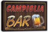 AdvPro Canvas scw3-085020 CAMPIGLIA Name Home Bar Pub Beer Mugs Cheers Stretched Canvas Print Sign
