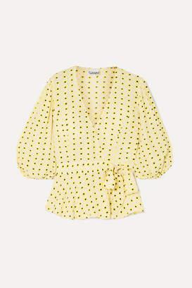 Ganni Floral-print Crepe Wrap Blouse - Pastel yellow