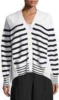 Sacai Striped Knit Cardigan Sweater, White Pattern