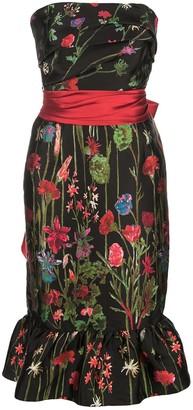 Marchesa Notte Floral Print Bandeau Dress
