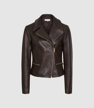 Reiss Shae - Leather Biker Jacket in Chocolate