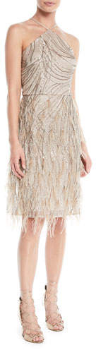 David Meister Sequin & Feather Halter Cocktail Dress