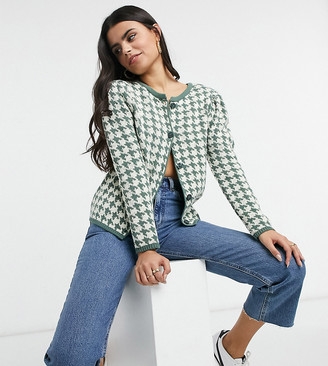 ASOS DESIGN Petite co-ord cardi in houndstooth pattern in green