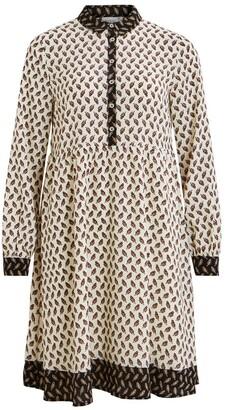Vila Printed Short Flared Shirt Dress with Long Sleeves