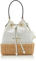 Prada Small Leather-Trimmed Raffia and Canvas Bucket Bag