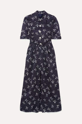 Alessandra Rich Button-embellished Printed Silk-jacquard Maxi Dress - Blue