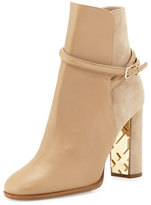 Burberry Shola Leather & Suede Ankle Boot, Light Nude