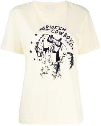 Sandro Paris embroidered 'Ride'em Cowboy' T-shirt