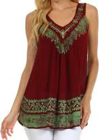 Sakkas 497 Paradise Embroidered Relaxed Fit Blouse