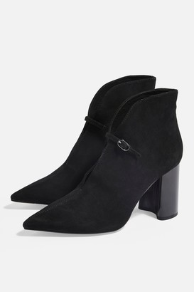 Topshop HALO Leather Black High Ankle Boots