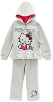 Weeplay Kids Gray Hello Kitty Ruffle Active Hoodie & Pants - Girls