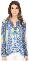 Hale Bob Eye Candy Long Sleeve Silk Blouse
