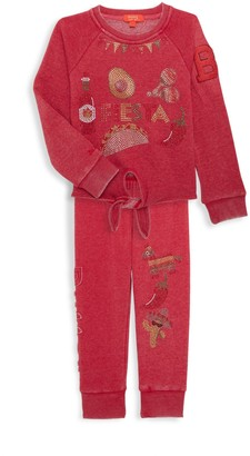 Butter Shoes Little Girl's Burnout 2-Piece Embellished Sweatshirt & Joggers Set