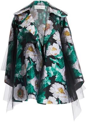 Oscar de la Renta Floral Jacquard & Tulle Jacket
