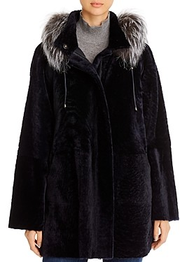 Maximilian Furs Fox Fur Trim Shearling Coat - 100% Exclusive