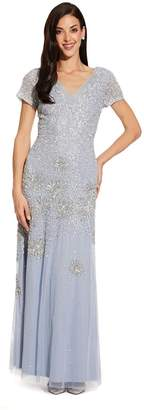 Adrianna Papell Womens Blue Beaded Short Sleeve Gown - Blue