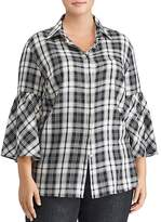 Lauren Ralph Lauren Plus Plaid Bell Sleeve Top