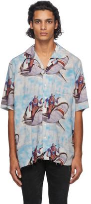 Rhude Blue Shark Hawaiian Short Sleeve Shirt