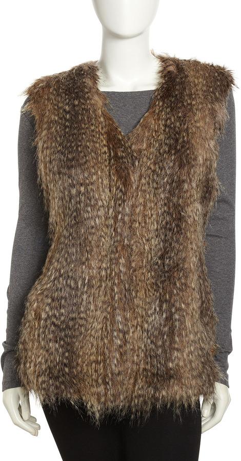 Via Spiga Feathered Faux-Fur Vest