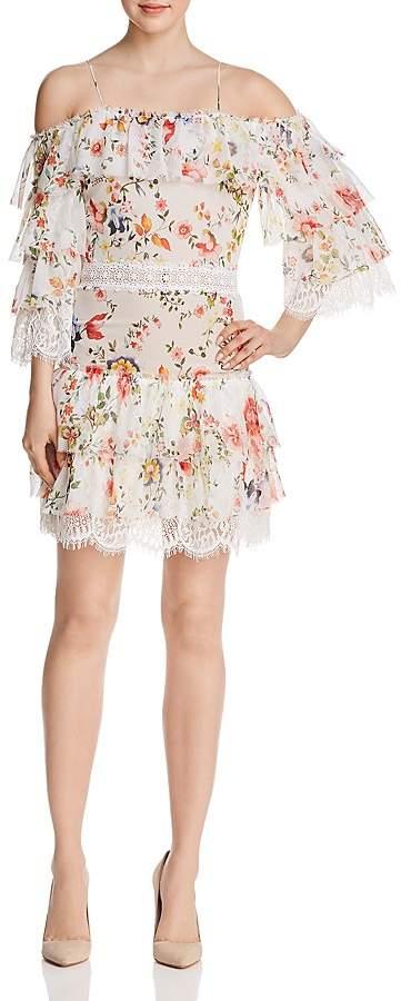 Alice + Olivia Santos Tiered Cold-Shoulder Dress
