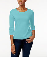 Charter Club Petite Solid Crew-Neck Top, Only at Macy's