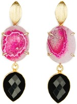 Pink Agate & Black Onyx Cocktail Earrings