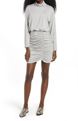 Fraiche by J Ruched Turtleneck Long Sleeve Dress