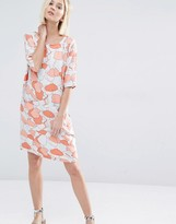 Selected Tunni Dress in Coral Print