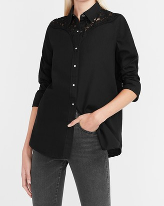 Express Lace Pieced Denim Shirt