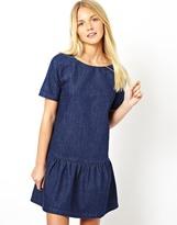 Asos Premium Denim Dress with Drop Waist - Blue