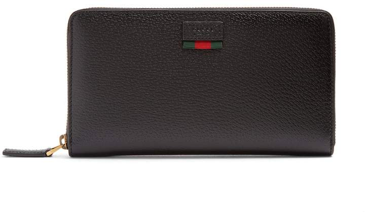 Gucci Agora grained-leather travel wallet