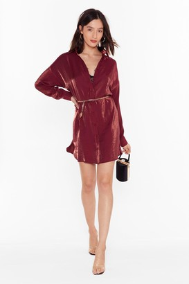 Nasty Gal Womens Time to Shimmy Shimmy Oversized Shirt Dress - Red - 6