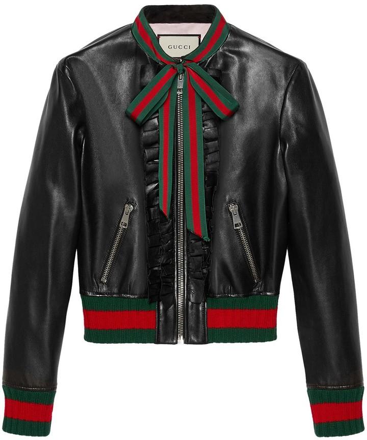 f023cc38 Ruffle leather bomber jacket