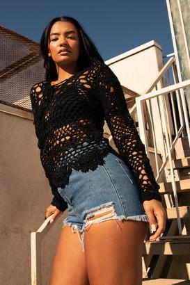 Nasty Gal Womens Our Crochet V-Neck Crop Top - black - S