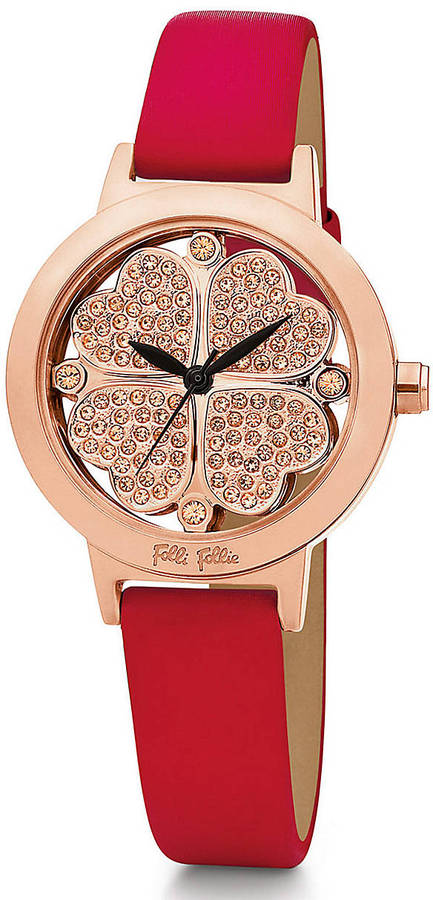 Folli Follie Ladies' Heart4Heart Rose Gold & Red Patent Leather Watch