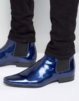 Asos Chelsea Boots In Blue Patent