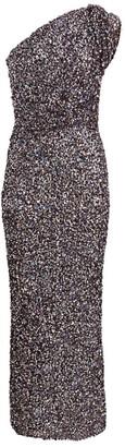 Rachel Gilbert Reed Embellished One-Shoulder Gown