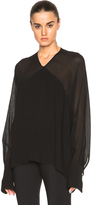 Rosetta Getty Crepon Georgette Paneled Blouse