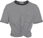 Alexander Wang Cropped Twist-front Striped Cotton-jersey T-shirt - Black