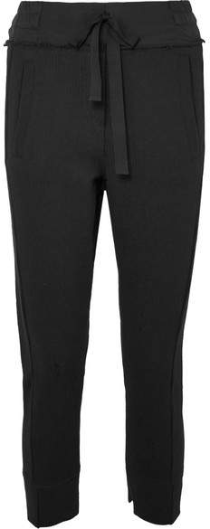 Ann Demeulemeester Cropped Ribbed Stretch-cotton Jersey Track Pants - Black